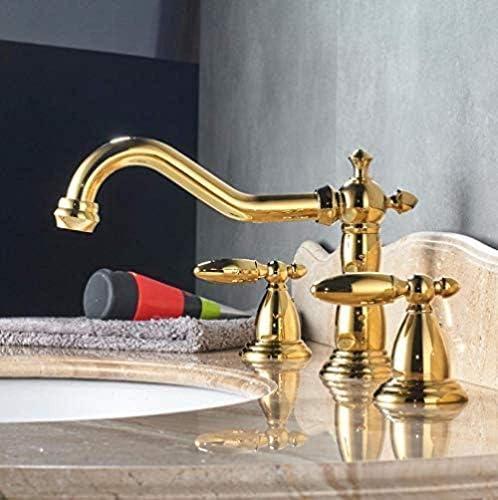 CHENBIN-BB タップキッチンシンクMixertapデュアルハンドル流域の蛇口広範な真鍮洗面シンクミキサータップアンティーク真鍮3つのホールバースシンクホット冷たい水をタップ