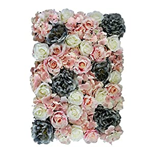 Baoblaze Artificial Rose Flower Wall Panels Home Wall Shop Wedding Venue Main Road Pillar Photo Background 4