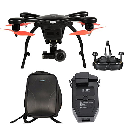 EHang GhostDrone 2.0 VR iOS - Black/Orange 1 Year Crash Coverage Included Pro Bundle with Extra Battery and Ghost Custom Backpack