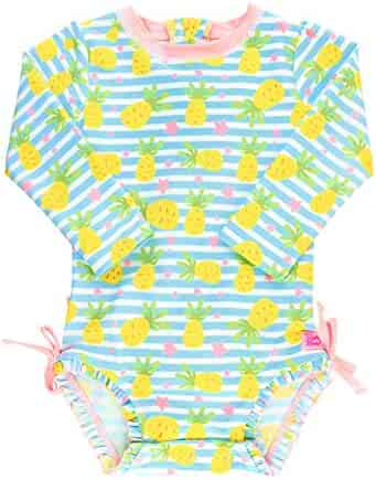 RuffleButts Baby/Toddler Girls Long Sleeve One Piece Swimsuit with UPF 50+ Sun Protection