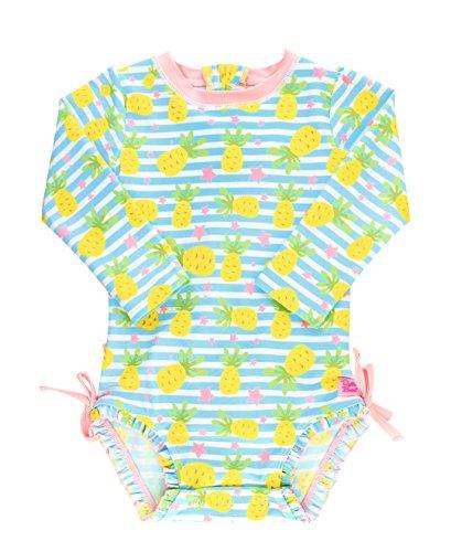 RuffleButts Infant/Toddler Girls Long Sleeve UPF 50+ One Piece Rash Guard Swimsuit - Pineapple Paradise - - 21 50
