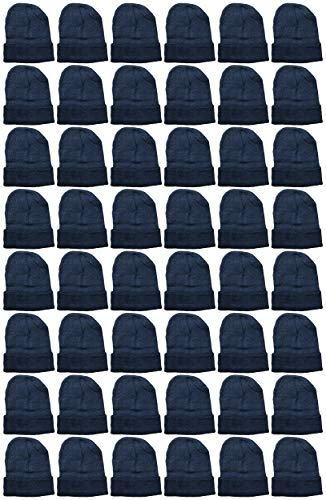 Yacht & Smith 48 Pack Wholesale Bulk Winter Thermal Beanies Skull Caps, Thermal Gloves Unisex (Solid Black Beanie)