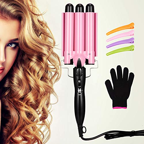 Hair Curling Iron 1 Inch 3 Barrel Hair Waver with 4 Pieces Hair Clips and 1 Heat Resistant Glove, 3 Barrel Curling Iron Wand with LCD Temperature Display, Ceramic Tourmaline Triple Barrels