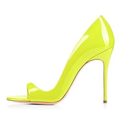 abe1c960b1fd85 elashe Escarpins Femms Bout Ouvert Talon Aiguille 12cm Talon Haut Chaussures  de Soirée Mariage Citron EU35