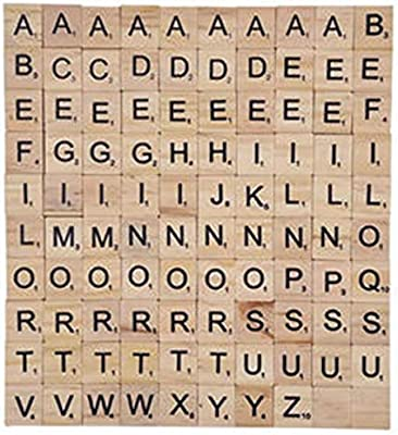 Madera de la Letra Azulejos Números Azulejos Alfabeto Cuadrado Educativo Letras del Scrabble Scrabble Letras para Manualidades 100 Piezas: Amazon.es: Juguetes y juegos