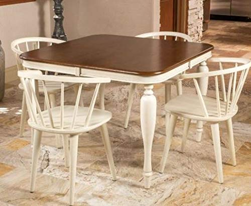 Dinette Sets For Small Spaces-Dinning Room Table Set-Five Piece Square Dining Table Set Dark Oak and Antique White Spindle Wood Bring Classic Beauty to Your Dining Room During Your Entire Meal