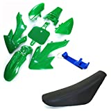 TC-Motor Plastic Fairing Body Kits + Tall Foam Seat For Honda CRF50 XR50 Pit Dirt Motor Trail Bike 50cc 70cc 90cc 110cc 125cc 140cc 150cc 160cc Chinese SSR YCF IMR Atomik Thumpstar BSE Apollo (Green)