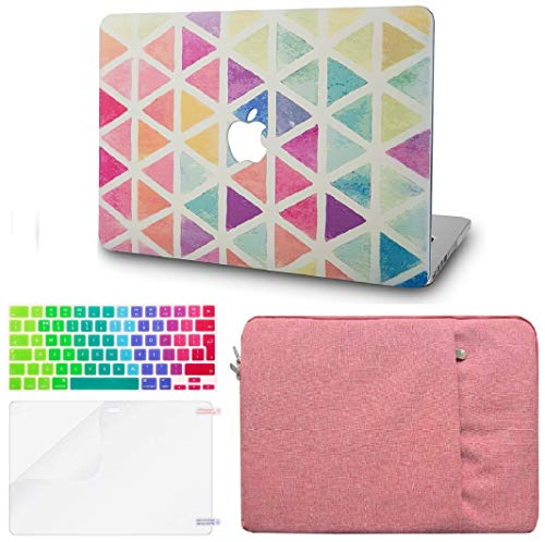 """KECC Laptop Case for MacBook Air 13"""" Retina (2020, Touch ID) w/Keyboard Cover + Sleeve + Screen Protector (4 in 1 Bundle) Plastic Hard Shell Case A2179 (Color Triangles)"""