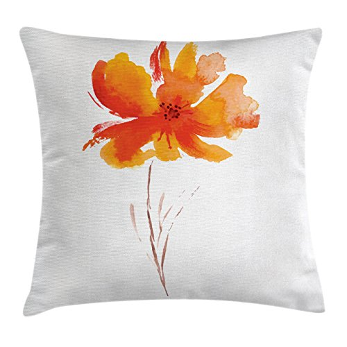 Ambesonne Landscape Throw Pillow Cushion Cover, Single Poppy Flower on Plain Clear Background Nature Inspired Romantic Art, Decorative Square Accent Pillow Case, 18 X 18 Inches, White Orange by Ambesonne