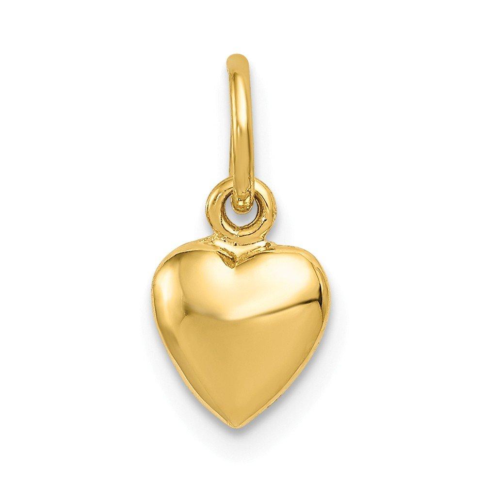 Jewelry Pilot 14K Yellow Gold Polished 3D Medium Heart Charm Pendant