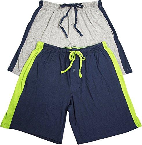 Hanes Men's Logo Waistband 2-Pack Striped Shorts, 01005/2, 01005x/2, L, Heather (Jersey Striped Shorts)