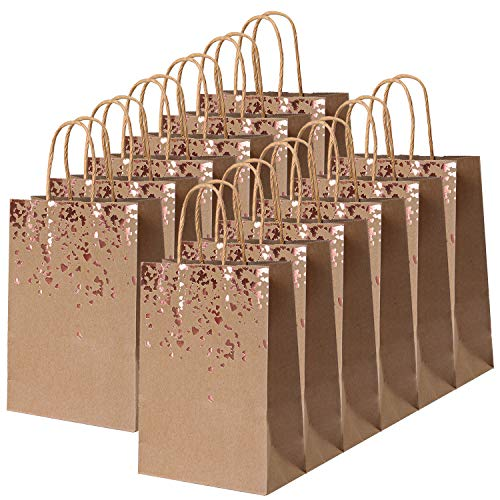 Cooraby 18 Pieces Paper Bags Bronzing Kraft Bag Hen Party Bags Bride Gift Birthday Bag with Handle for Wedding Parties Keepsake Night Celebrations (Rose Gold Bronzing-Hearts)