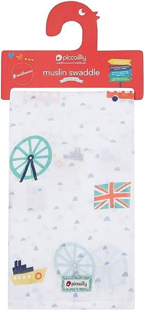 Piccalilly London - Manta de muselina para bebé (120 x 120 cm, algodón orgánico, regalo para baby shower): Amazon.es: Ropa y accesorios