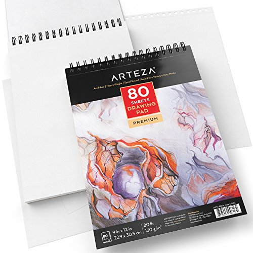 ARTEZA 9X12 Drawing Pad, Pack of 2, 160 Sheets (80lb/130g), Spiral Bound Artist Drawing Books, 80 Sheets Each, Durable Acid Free Drawing Paper, Ideal for Kids & Adults, Bright White by ARTEZA (Image #2)