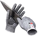 KWLET Cut Resistant Gloves Level 5 Protection Food Grade Safety Kitchen Cuts Gloves with Anti-Skid Slicone for Oyster Shucking, Mandolin Slicing, Meat Cutting and Wood Carving XL