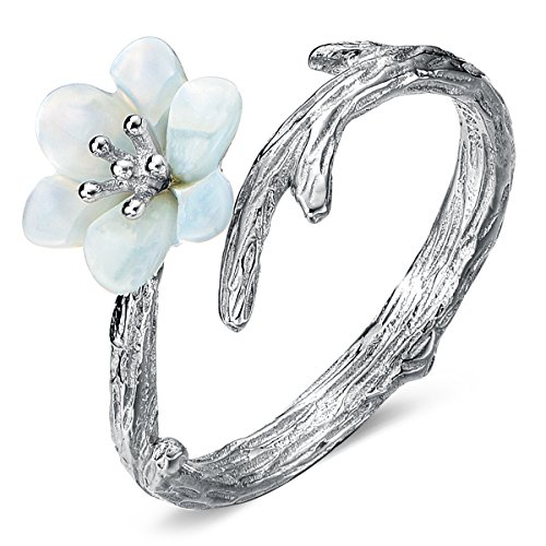 JEWME 925 Sterling Silver Women Sakura Cherry Blossoms Open Tail Ring Fine Jewelry
