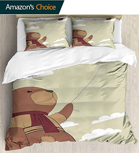 Free Clipart Teddy Bears - Cartoon Cotton Bedding Sets,A Melancholic Teddy Bear with Scarf Holding a Balloon Clouds in the Sky Clipart Print Queen 1 Duvet Cover 2 Pillowcases Wrinkle Fade Resistant 90