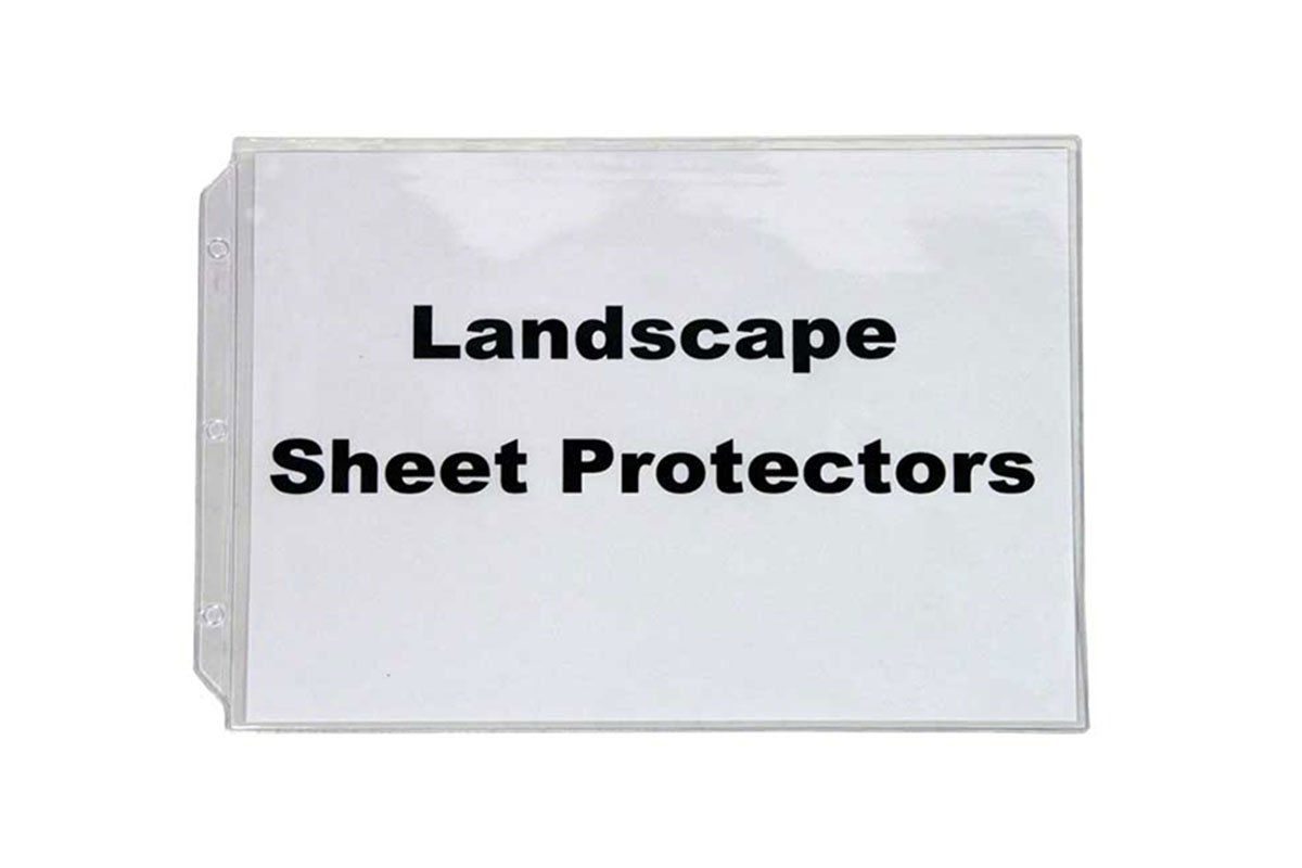 Landscape Sheet Protectors clear horizontally formatted for 8 1/2 x 11 paper de Venny Inc.
