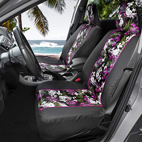 BDK FreshProtect Catalina Floral Sideless Fun Graphic All Protective Front Seat Covers for Auto Cars -Sedan Truck SUV Minivan - Non Fade - Universal 2 Piece ()