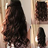 Eastlion New One Piece Sexy Women's High Quality Natural Fashion Curly Hair Long Beautiful Synthetic Thick Hair Extensions 5clips Clip(Dark Brown)