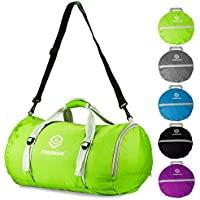 Foldable Sports Duffel Gym Bag for Women Men with Shoe Compartment, Lightweight Water Resistant Compact