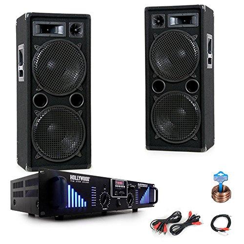 3000W PA Party Musikanlage Boxen USB SD MP3 Bluetooth Endstufe Kabel DJ-Black