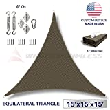 Windscreen4less 15' x 15' x 15' Equilateral Triangle Sun Shade Sail with 6 inch Hardware Kit - Brown Durable UV Shelter Canopy for Patio Outdoor Backyard - Custom Size