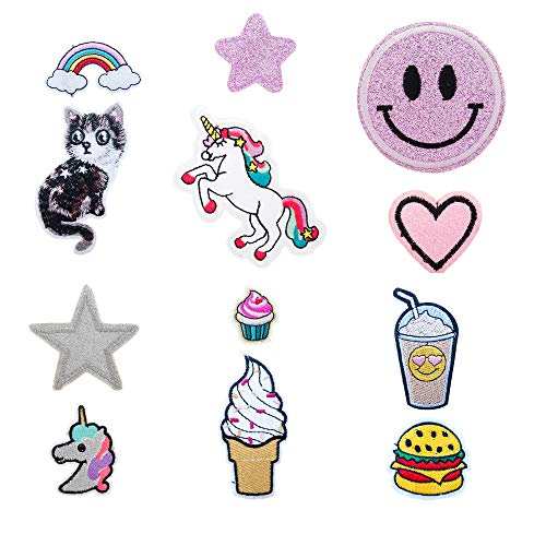 (12 Embroidered Stickers for Water Bottles, Computer Laptop Stickers for Teens, Trendy Phone Stickers Decals for Cases, Girls Tumblr Stickers Pack, Cute Stickers for Back to School Supplies)