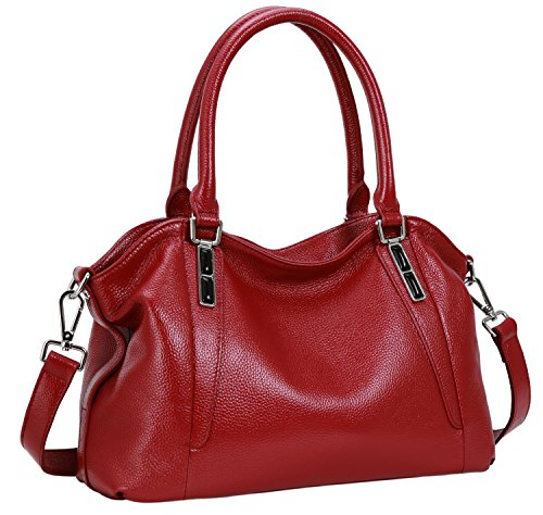 Iswee Leather Shoulder Bag Tote Top Hanldle Handbag Satchel Cross Body Purses for Women on Clearance (Wine) (Purse Bag Crossing)