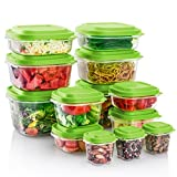ME.FAN Food Storage Containers, BPA Free - Reusable - Multipurpose Use for Home Kitchen or Restaurant 26-Piece Set, Gress Green