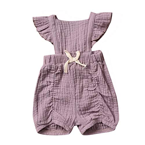 Kids Clothes Kids Dresses 6M-24M Baby Sleeveless lace Flower Bow Pleated Hip Romper Jumpsuit Purple]()