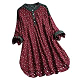 UOFOCO Blouses for Women Plus Size Vintage Floral Print Patchwork Long Sleeve Shirt Top Red