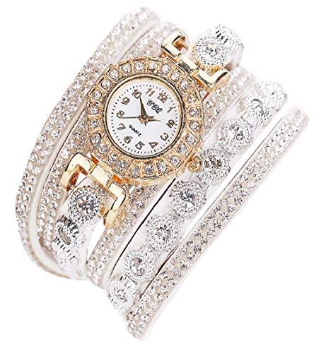 Clearance Sale!DEESEE(TM)Women Fashion Casual AnalogQuartz Women Rhinestone Watch Bracelet Watch Gift (White)