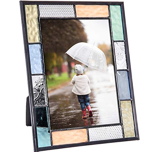Picture Photo Frame 5x7 Colorful Stained Glass - J Devlin Pic 412-57HV Blue Green Aquamarine Peach Pastel Home Decor Easel Back