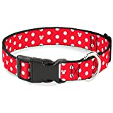Buckle-Down Minnie Mouse Polka Dot/Mini Silhouette Red/White Plastic Clip Collar, Large/15-26'