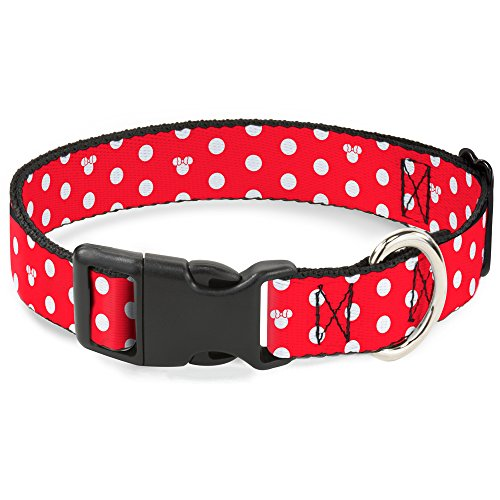 Buckle-Down Plastic Clip Collar - Minnie Mouse Polka Dot/Mini Silhouette Red/White - 1/2