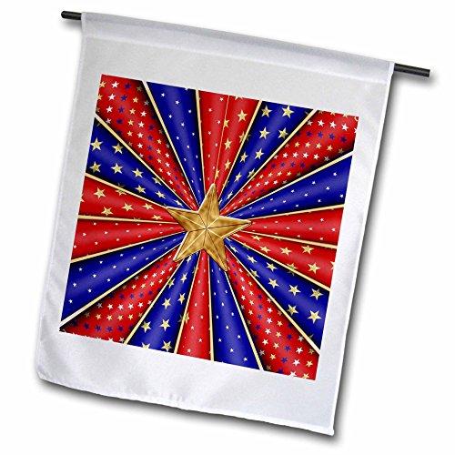 Beverly Turner Patriotic Design - Kaleidoscope of Stars and Stripes, Red, Blue, White, Big Gold Star - 12 x 18 inch Garden Flag (fl_239583_1) (Kaleidoscope Stripe)
