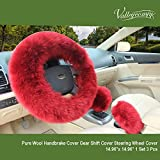 Valleycomfy Fashion Steering Wheel Covers for Women/Girls/Ladies Australia Pure Wool 15 Inch 1 Set 3 Pcs, Wine Red