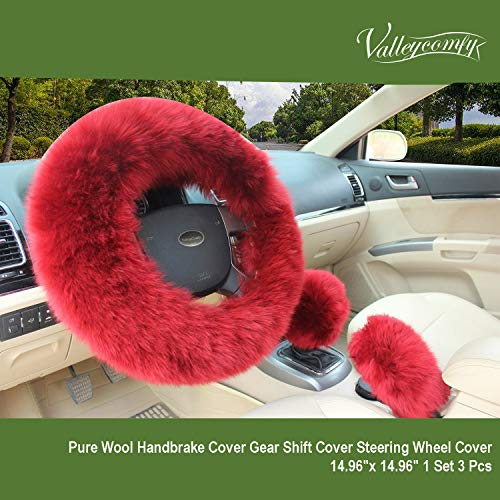 Valleycomfy Fashion Steering Wheel Covers for Women/Girls/Ladies Australia Pure Wool 15 Inch 1 Set 3 Pcs, Wine Red (Red Fur Wheel Cover)