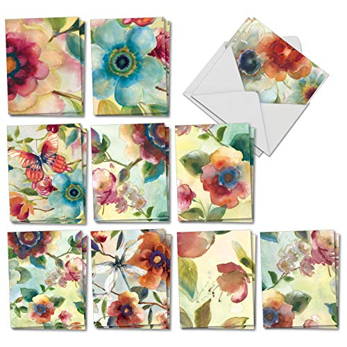 Watercolor Botanicals - 20 Boxed Blank Note Cards with Envelopes (4 x 5.12 Inch) - Assorted All Occasion Painted Flowers, Nature Greeting Cards - Notecard Set (2 Each, 10 Designs) AM3314OCB-B2x10
