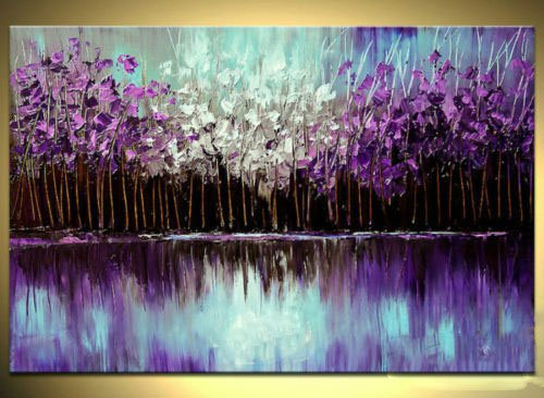 Seekland Art Handmade Purple Abstract Canvas Wall Art Landscape Oil Painting Palette Knife Tree Artwork Modern Contemporary Picture Decor Hanging Framed Ready to Hang (Framed 48x36 inch)