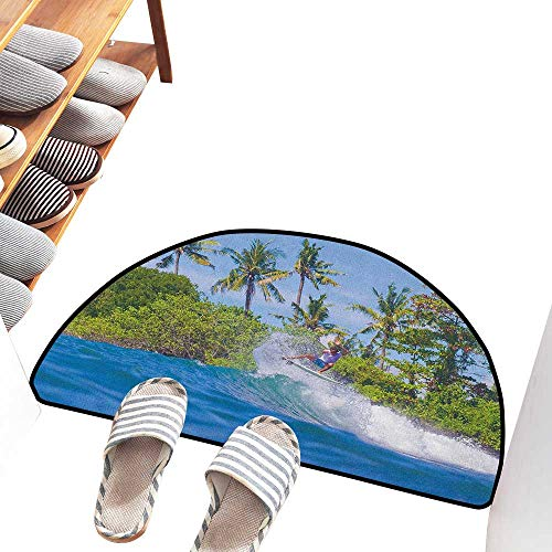 Axbkl Welcome Door mat Ride The Wave Surfer in Ocean by Bali Island Palm Trees Dreamy Nature Scenery Antifouling W30 xL18 Fern Green Violet Blue