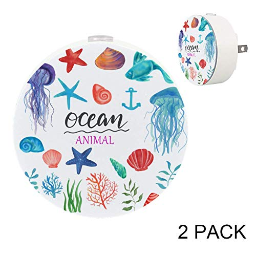 Dragon Sword Watercolor Clipart Ocean Night Light for Kids,Dusk-to-Dawn Automatic Sensor Night Light(2 Pack),Plug-in LED Warm White -