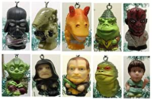 Star Wars Set of 10 Christmas Tree Ornaments Featuring Darth Vador, Darth Maul, Luke Skywalker, and Yoda