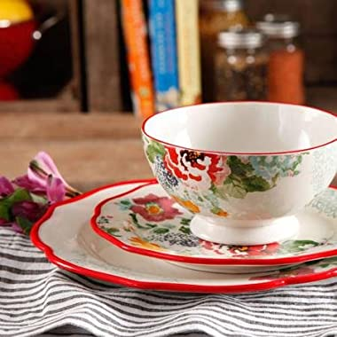 The Pioneer Woman 82709.12R Country Garden 12-Piece Decorated Dinnerware Set