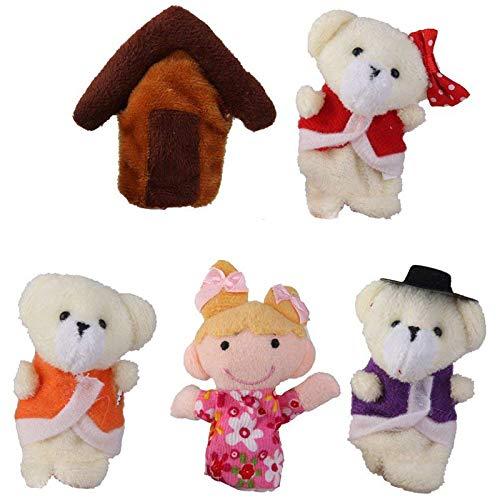 (TOOGOO Lot of 5 pcs Finger Puppets Fairytale Fairy Tale Goldilocks and Three Bears)