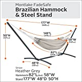 Classic Accessories Montlake FadeSafe Brazilian Hammock with Steel Stand, Grey Stripe