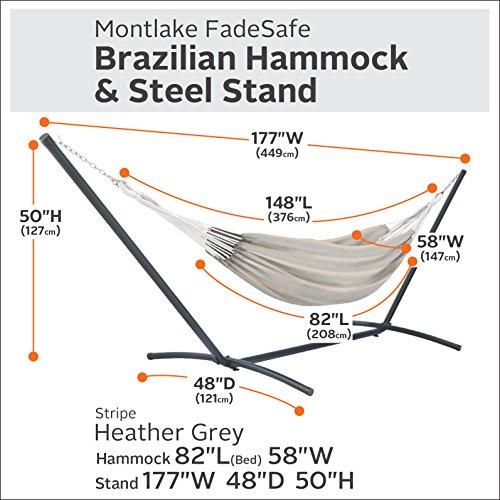 Classic Accessories 50-048-HGREY-RT Montlake Fadesafe Brazilian Hammock with Steel Stand, Grey Stripe