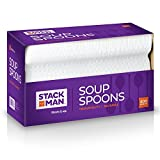Stack Man Medium Weight Plastic Soup Spoon, White, 400 per Case
