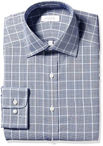Enro Men's Newport Check Non-Iron Classic Fit Dress Shirt, Blue 150 x 32/33